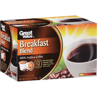 Great Value™ Breakfast Blend Light 100% Arabica Coffee 4.02 oz. Box
