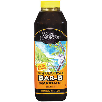 World Harbors Australian Style Sweet Ginger Bar-B Sauce & Marinade 16 Oz Squeeze Bottle