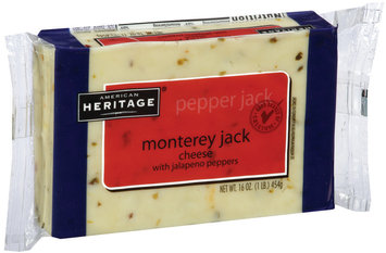 American Heritage Monterey Jack Cheese with Jalapeno Peppers 1 lb Brick