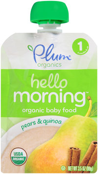 Plum Organics® Hello Morning™ Stage 1 Pears & Quinoa Baby Food 3.5 oz. Pouch
