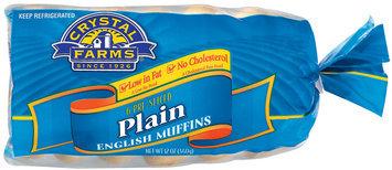 Crystal Farms Plain Pre-Sliced 6 Ct English Muffins 12 Oz Bag