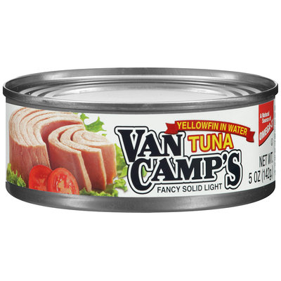 Van Camp's Fancy Solid Light Yellowfin in Water Tuna 5 oz. Can.