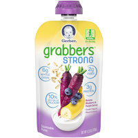 Gerber® Grabbers™ Strong Banana Blueberry & Purple Carrot Greek Yogurt Mixed Grains 4.23 oz. Pouch
