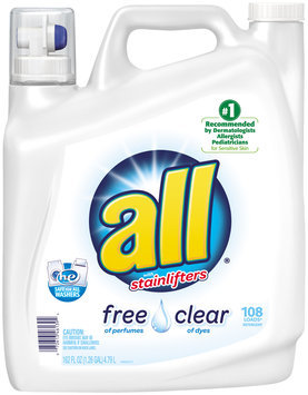 all® free clear Laundry Detergent 108 Loads 162 fl. oz. Bottle