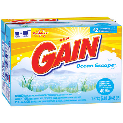 Gain with FreshLock Ocean Escape Powder Detergent 45 oz.