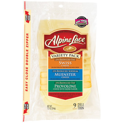 Alpine Lace® Variety Pack Swiss/Muenster/Provolone 9 Slices Deli Cheese 7.2 Oz Shingle Pack