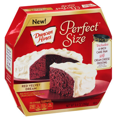 Duncan Hines® Perfect Size™ Red Velvet Dream Cake Mix & Cream Cheese Frosting Mix 9.4 oz. Box