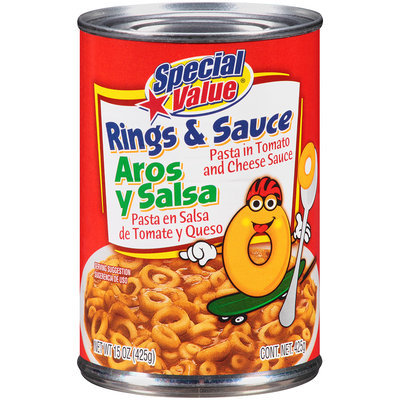 Special Value® Rings & Sauce Pasta in Tomato and Cheese Sauce 15 oz. Can