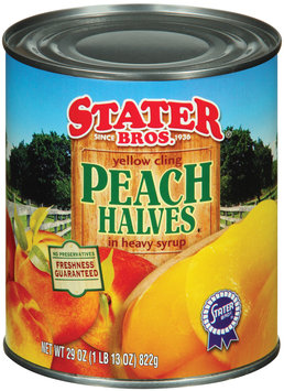 Stater Bros. In Heavy Syrup Yellow Cling Peach Halves 29 Oz Can