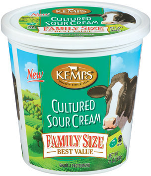 Kemps Cultured Family Size Sour Cream 24 Oz Plastic Container