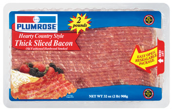 Plumrose Thick Sliced Hearty Country Style Bacon 32 Oz Plastic Container
