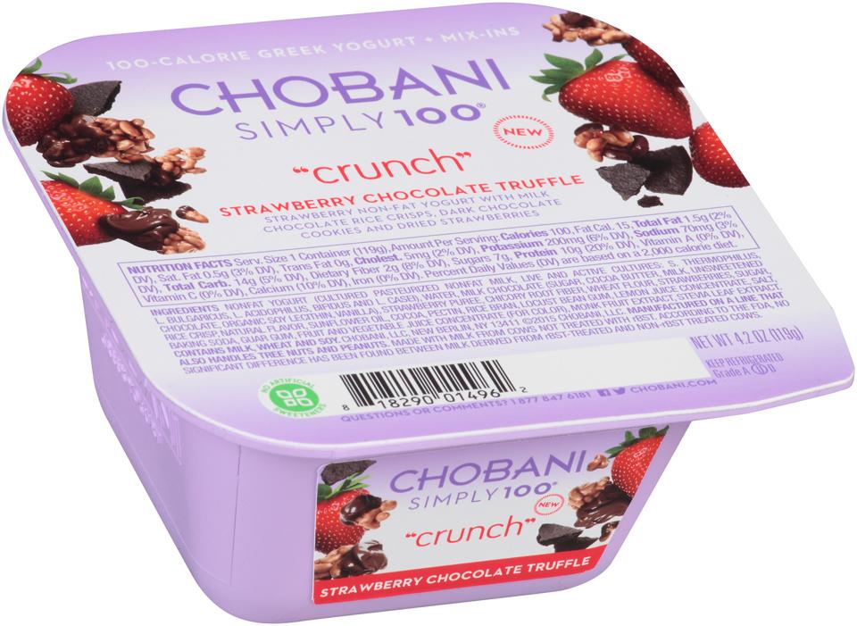 Chobani® Simply 100® Crunch Strawberry Chocolate Truffle Mix-Ins Greek Yogurt