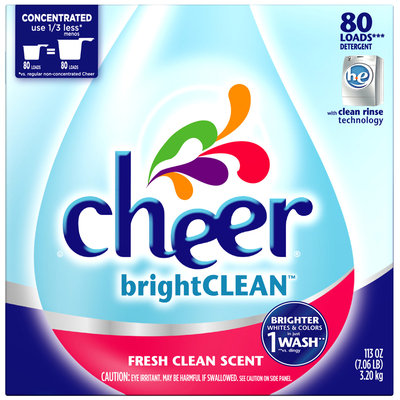 Cheer brightCLEAN HE Fresh Clean Scent Powder Laundry Detergent 113 oz. Box