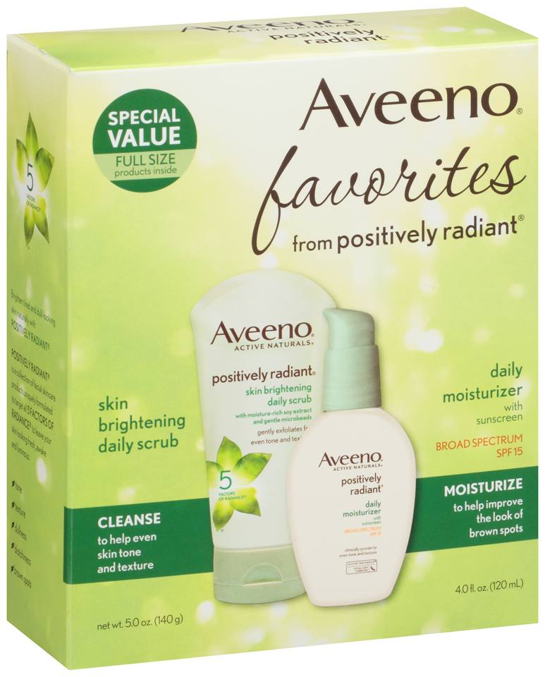 Aveeno® Positively Radiant® Skin Brightening Daily Scrub & SPF 15 Daily Moisturizer with Sunscreen 5 oz. Box