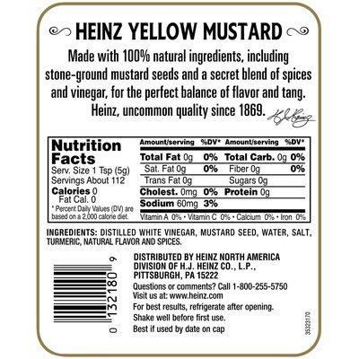 Heinz Yellow Mustard 20 oz. Squeeze Bottle