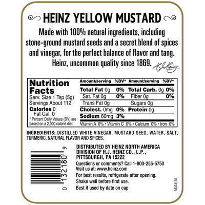 Heinz Yellow Mustard 20 oz. Squeeze Bottle