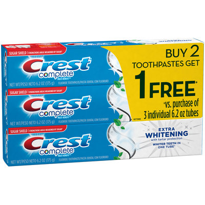 Whitening Crest Complete Multi-Benefit Extra Whitening Clean Mint Toothpaste 6.2oz, Buy 2 Get 1 Free