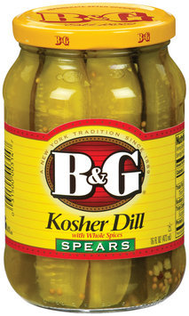 B&G Kosher Dill Spears W/Whole Spices Pickles 16 Oz Jar