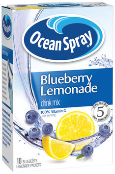 Ocean Spray Blueberry Lemonade On The Go Sugar Free 10 Ct Drink Mix 1.1 Oz Box