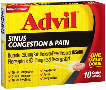 Advil® Sinus Congestion & Pain Relief Coated Tablets 10 ct Box