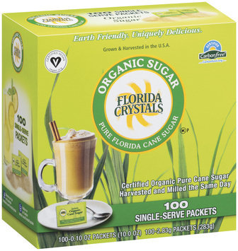 Florida Crystals Pure Florida Cane 0.10 Oz Packets Organic Sugar 100 Ct Box