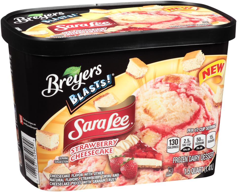 Breyers Blasts!® Sara Lee® Strawberry Cheesecake Frozen Dairy Dessert 1.5 qt. Tub