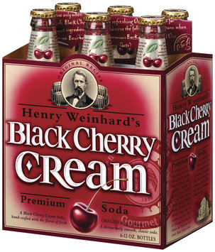 Henry Weinhard's Black Cherry Cream 12 Oz Gourmet Soda 6 Pk Glass Bottles