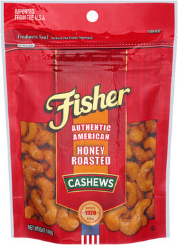 Fisher® Authentic American Honey Roasted Cashews 140g Bag
