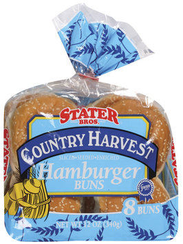 Stater Bros. Hamburger Country Harvest Seeded Buns 8 Ct Bag