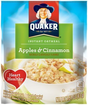 Quaker Apples & Cinnamon Instant Oatmeal 1.51 oz. Pouch