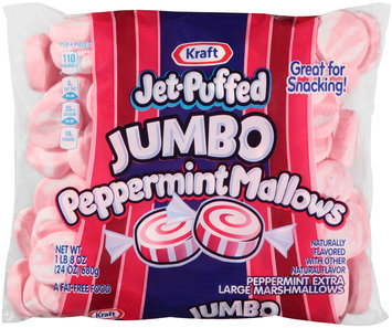 Kraft Jet-Puffed Jumbo Peppermint Mallows Marshmallows 24 oz. Bag