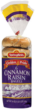 Springfield Cinnamon Raisin 6 Ct Bagels 18 Oz Bag