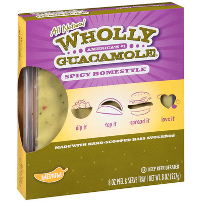 Wholly Guacamole® Spicy Homestyle Guacamole 8 oz. Tray