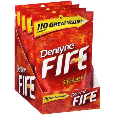 Dentyne Fire Spicy Cinnamon Sugar Free Gum 4-110 Piece Pouches