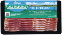 Farmland Thick Cut Naturally Hickory Smoked Uncured Bacon 12 Oz Package