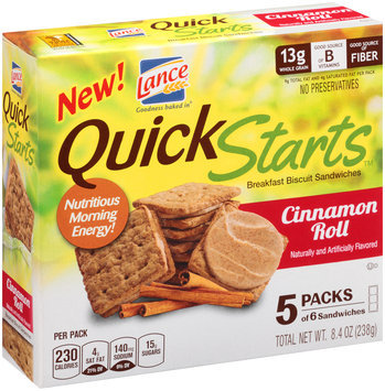 Lance® Quick Starts™ Cinnamon Roll Breakfast Biscuit Sandwiches