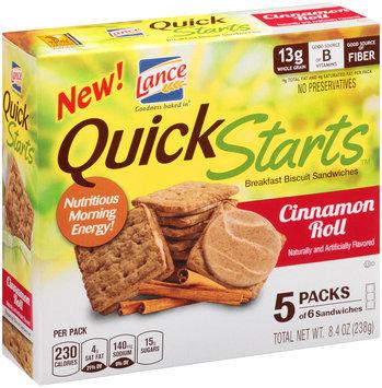 Lance® Quick Starts™ Cinnamon Roll Breakfast Biscuit Sandwiches 8.4 oz. Box