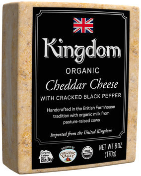 Kingdom Organic Cheddar Cheese with Cracked Black Pepper 6 oz. Loaf