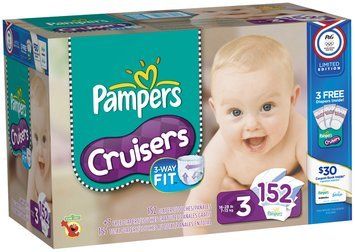 Pampers Cruisers Limited Edition USA Design Economy Pack Size 3 Diapers 152 ct Box
