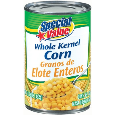 Special Value Whole Kernel Corn 15.25 Oz Can