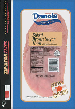 Danola Supreme  Sliced Ham Baked Brown Sugar 8 Oz Zip Pak