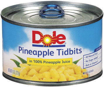 Dole Canned Fruit Tidbits In 100% Pineapple Juice Pineapple 8 Oz Pull-Top Can