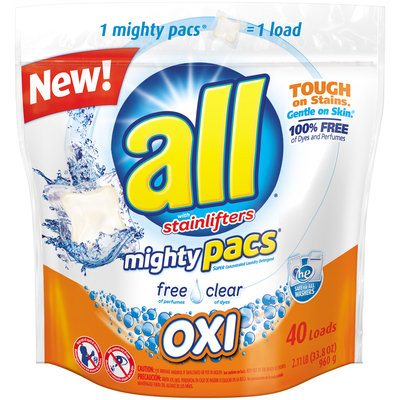 all® free clear OXI mighty pacs® Laundry Detergent 40 Loads 2.11 lb. Pouch