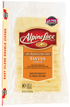 Alpine Lace® Swiss Reduced Fat Slices Deli Cheese 8 Oz Shingle Pack