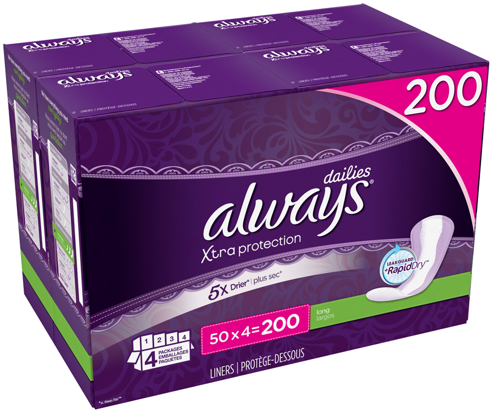 Xtra Protection Always Liners Xtra Protection Long Dailies 200 Count