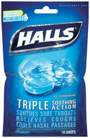 Halls® Ice Peppermint Cough Suppressant/Oral Anesthetic Menthol Drops 30 ct Bag