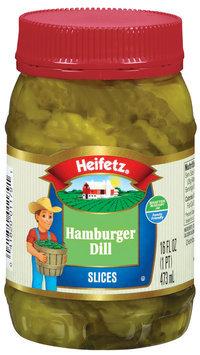 Heifetz Hamburger Dill Pickle Slices 16 Fl Oz Plastic Jar