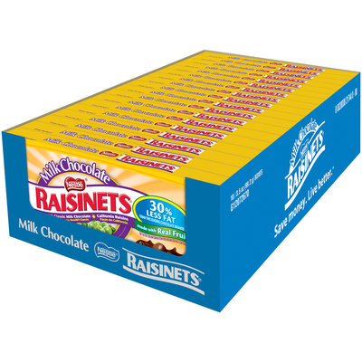 RAISINETS Milk Chocolate Covered Raisins 3.5 oz. Video Box (Pack of 18)