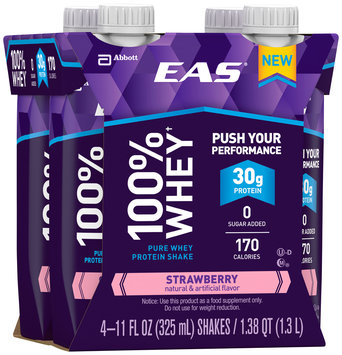 EAS® 100% Whey Strawberry Pure Whey Protein Shakes 4-11 fl. oz. Cartons