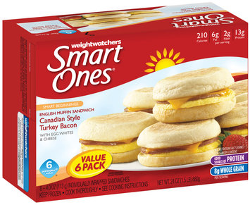 Weight Watchers Smart Ones® Smart Beginnings Canadian Style Turkey Bacon with Egg Whites & Cheese English Muffin Sandwich 6-4.0 oz. Box